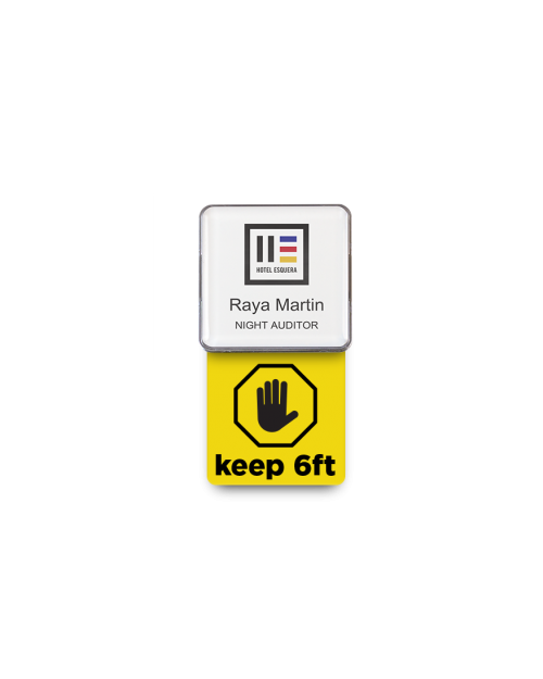 Badge Talker- Keep 6FT- Yellow Square