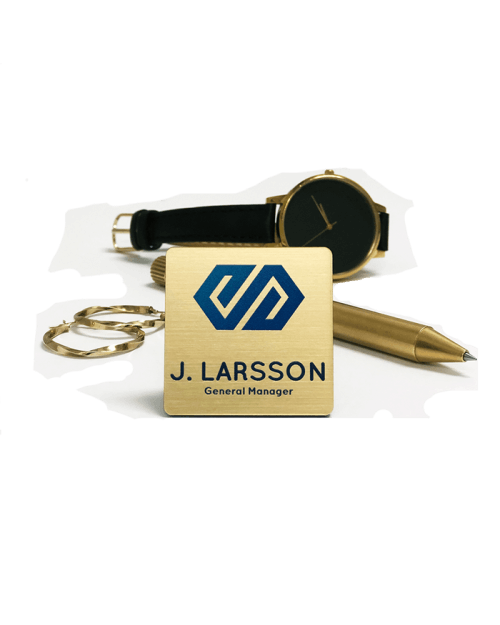 Metallic Gold Plastic Name Badge