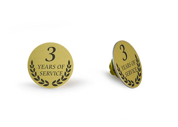 3 Years of service Gold lapel pin