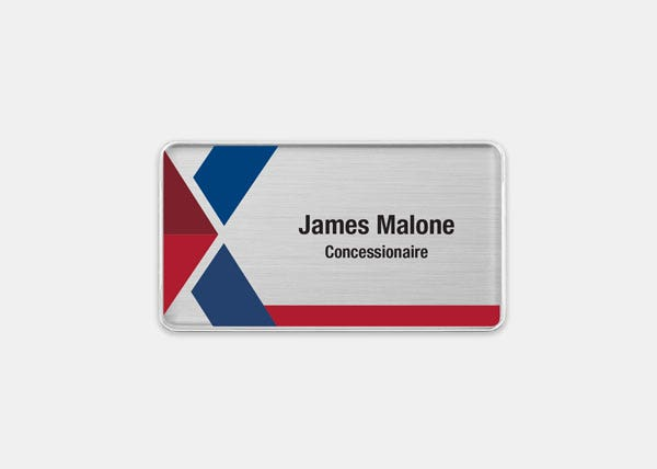AAFES-Food Service Silver Rectangle Name Badge