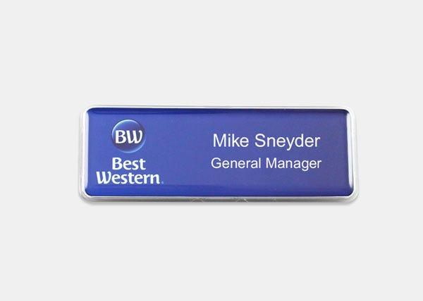 BW blue name badge