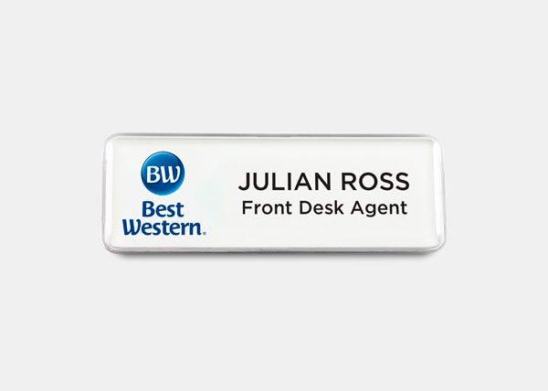 best western white name badge