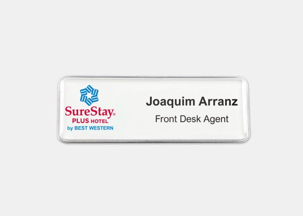 surestay plus white name badge