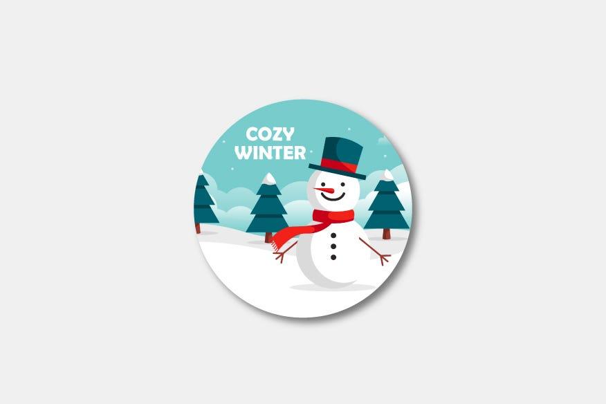 Cozy winter round name badge