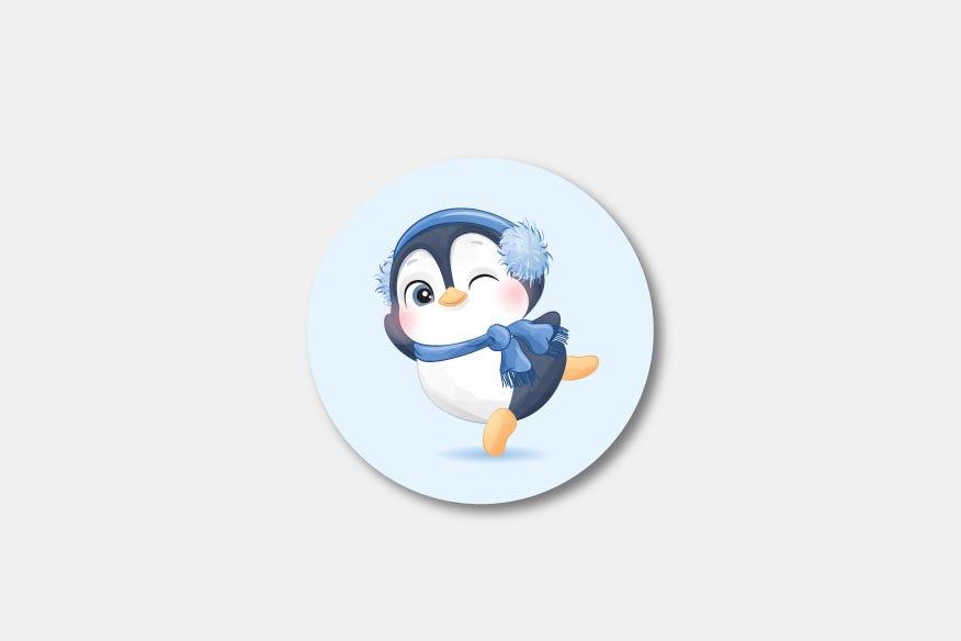 Pinguin winter round badge