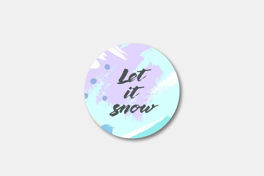 Let it snow round name badge