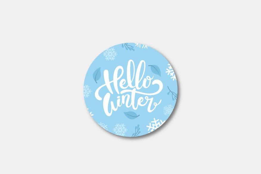 Hello winter round name badge