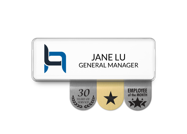 White Name badge with 3 recognition sign