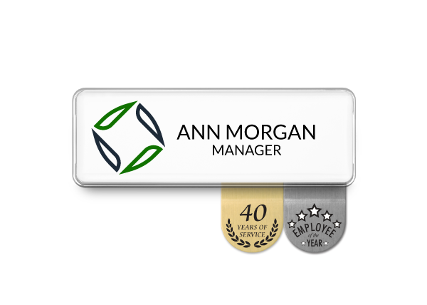 White name badge with 2 recognition signs