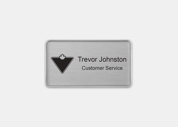 Canadian Tire Silver Rectangle Name Badge