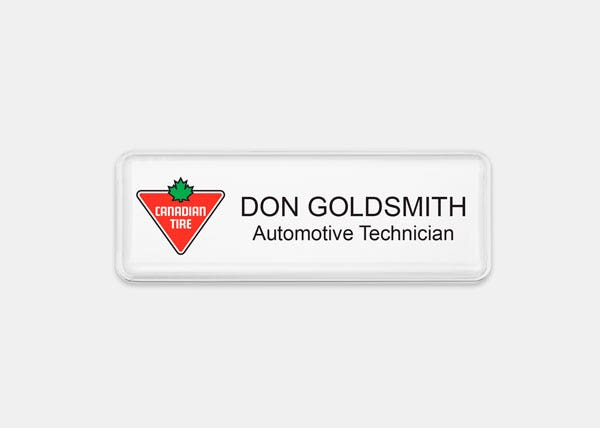 Canadian Tire White Rectangle Name Badge