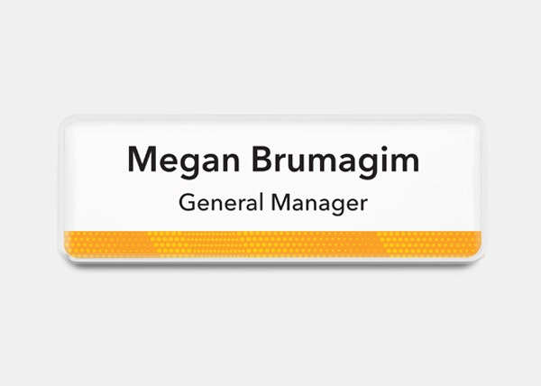 white and yellow rectangle name badge
