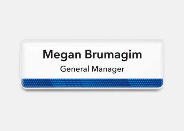 white and blue Rectangle name badge