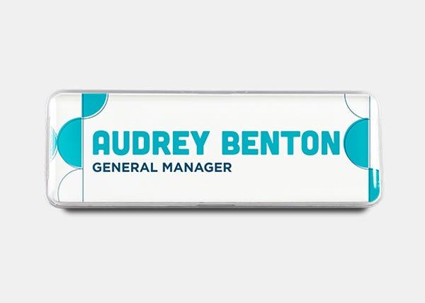 blue pattern rectangle name badge