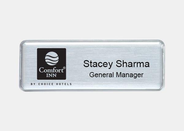 comfort inn rectangle name badge