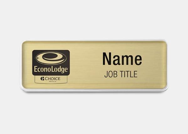 econolodge black logo rectangle name badge