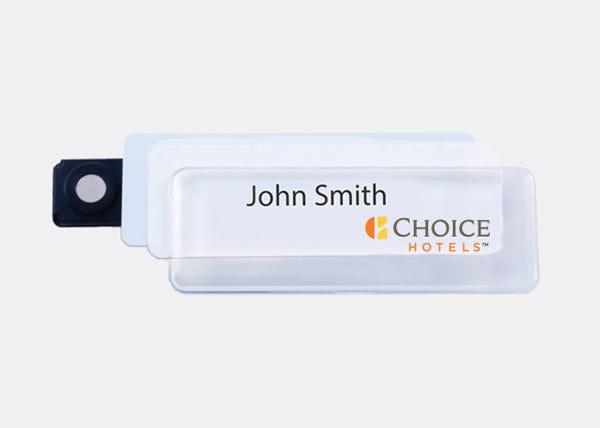 choice white name badge