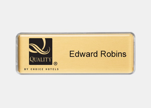 quality gold rectangle name badge