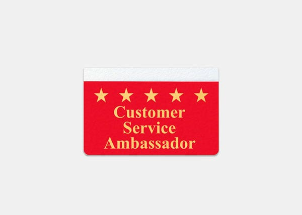 Customer service red name tag