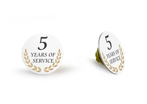 5 Years of service White lapel pin