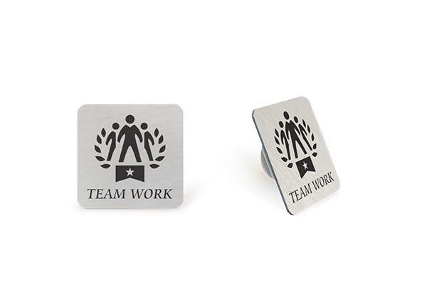 Team work silver lapel pin