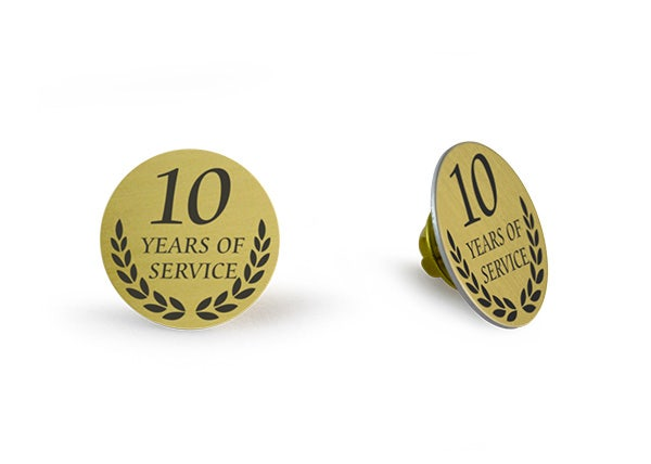 10 Years of service Gold lapel pin