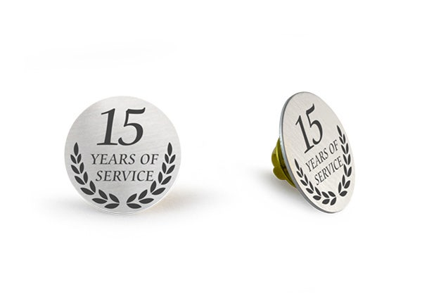 15 Years of service silver lapel pin