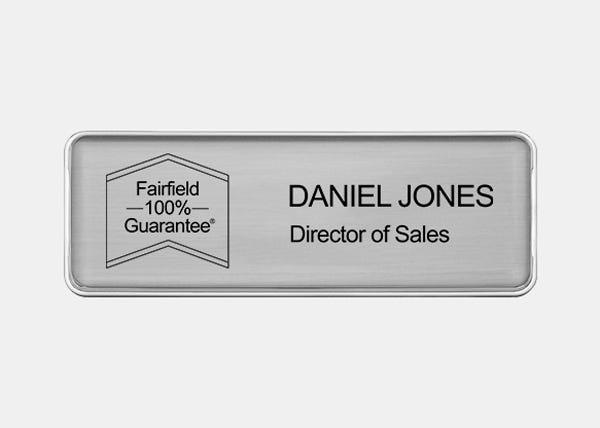 fairfeild silver name badge