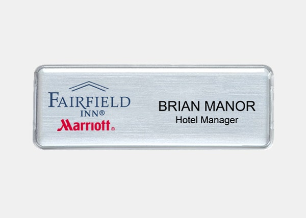 fairfield inn silver rectangle name badge