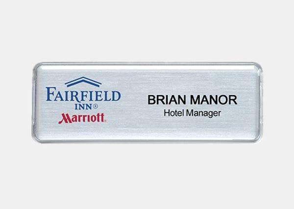 fairfield silver rectangle name badge