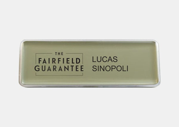 gold fairfield name badge