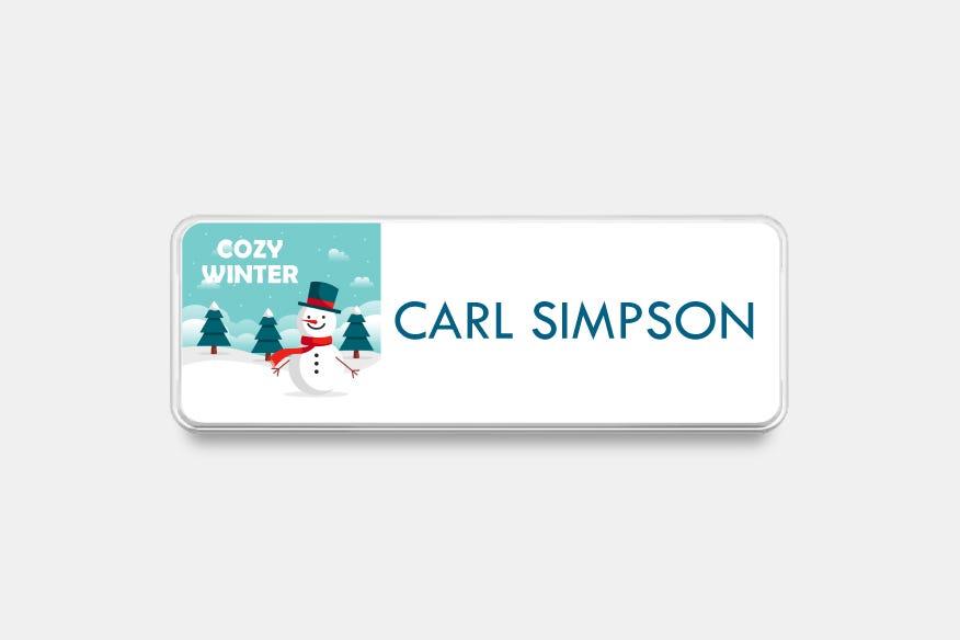 Green winter name badge