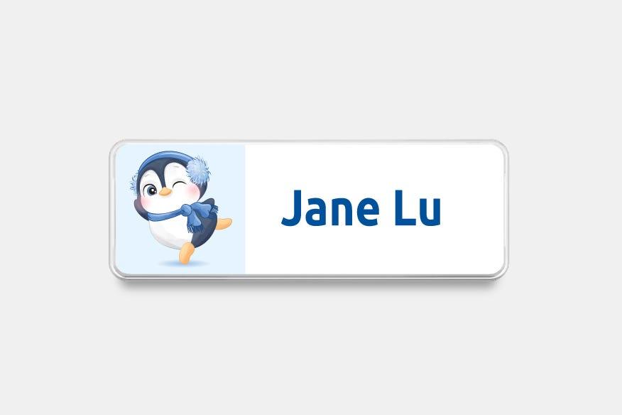 Pinguin winter name badge