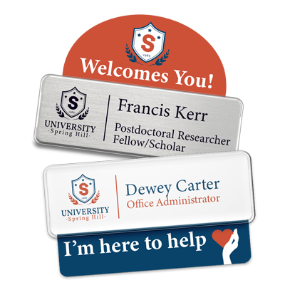 Name badge with badge talker in Education