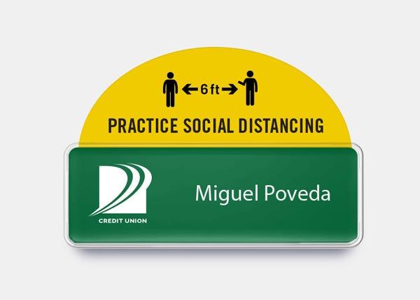 Social distance badge talker