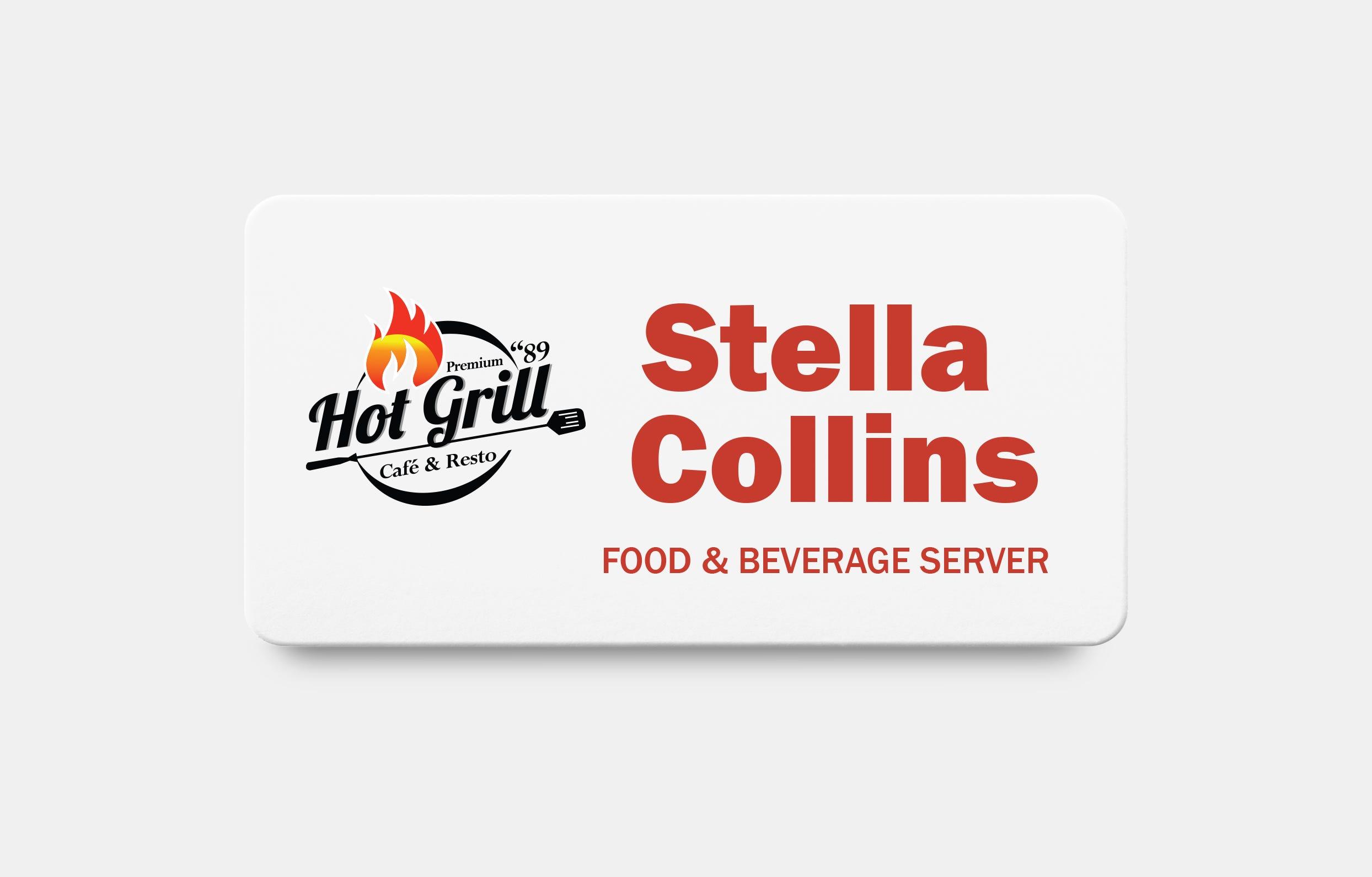 Restaurant name badge