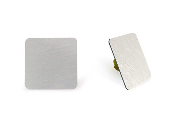 Raw silver rectangular lapel pin