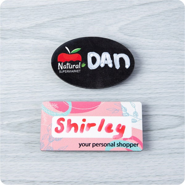 Write on name badge in retail industry